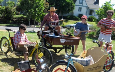 Making music in Metrofiets with our talented friends - the first traveling band on Portland Sunday Parkways.