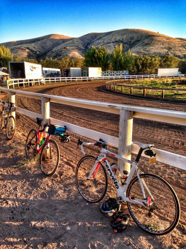 Typical Cycle Oregon view - where bikes and the local landscape intermingle every day.