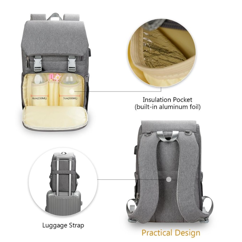 Diaper Bag Backpack With Changing Pad Attached Usb Phone Charger Orbisify
