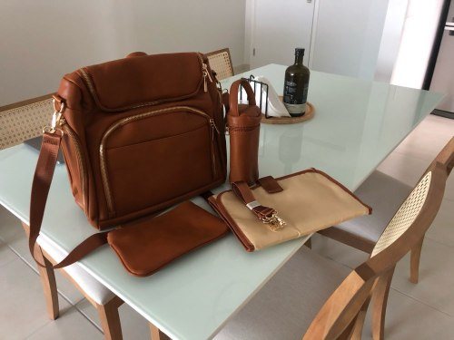 All in One Leather Diaper Bag Backpack with USB Phone Charger photo review