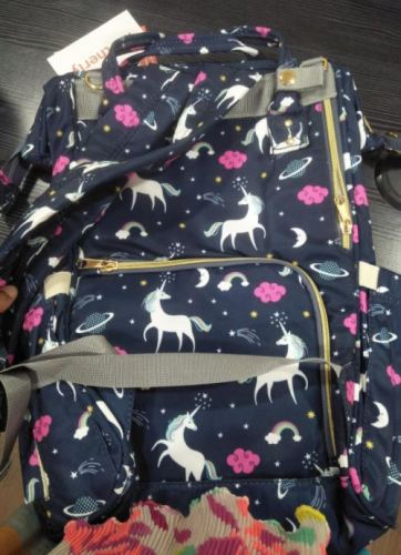 Cute Unicorn Baby Diaper Bag Backpack with USB Phone Charger photo review