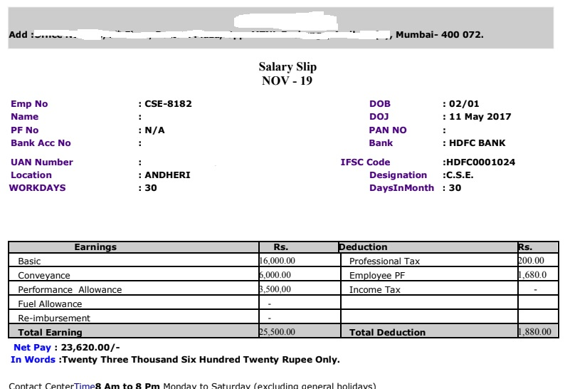 Salary Slip Format in Excel With Formula   Free Download PaySlip Word, PDF