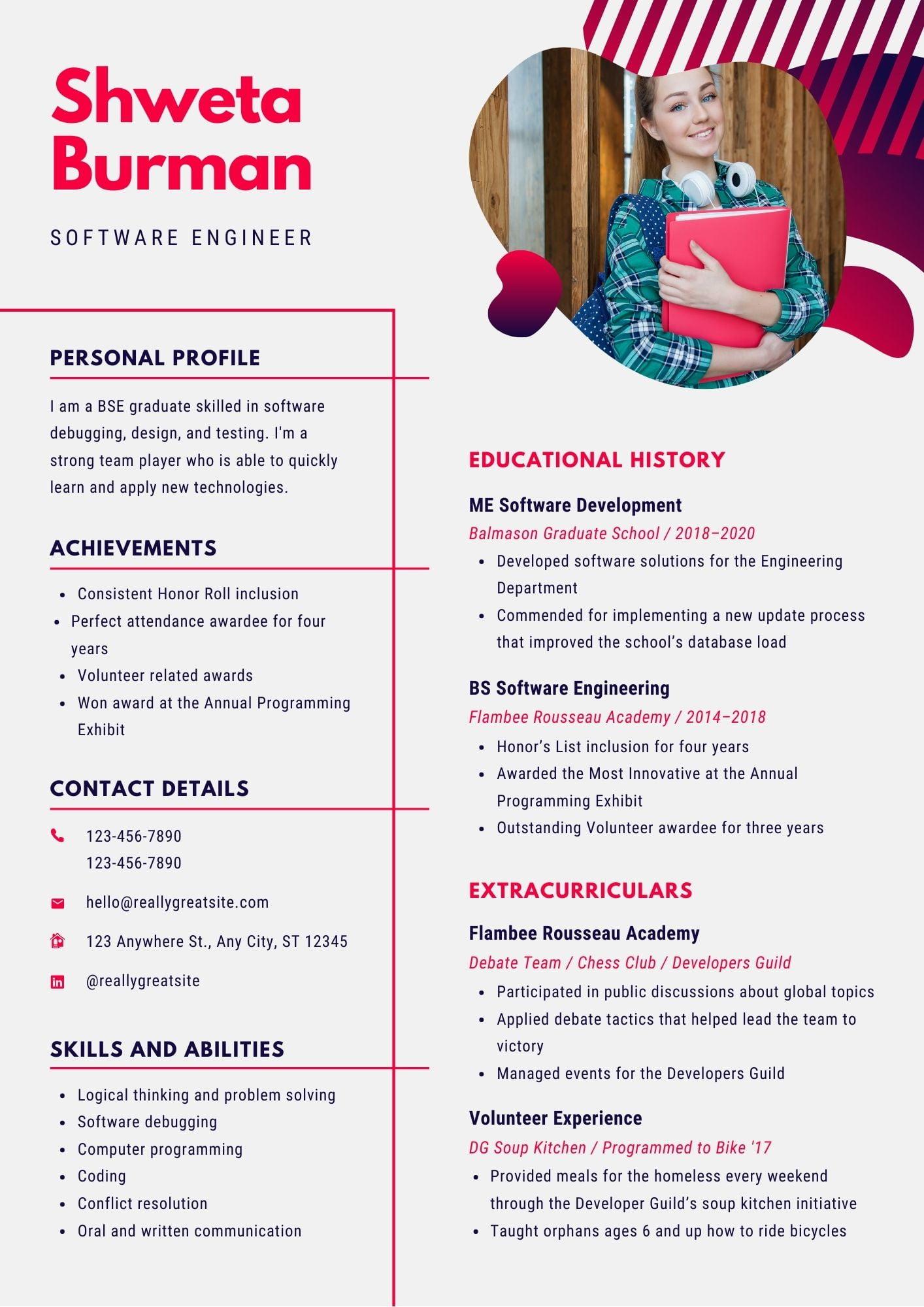 Resume fresher software engineer publishing books