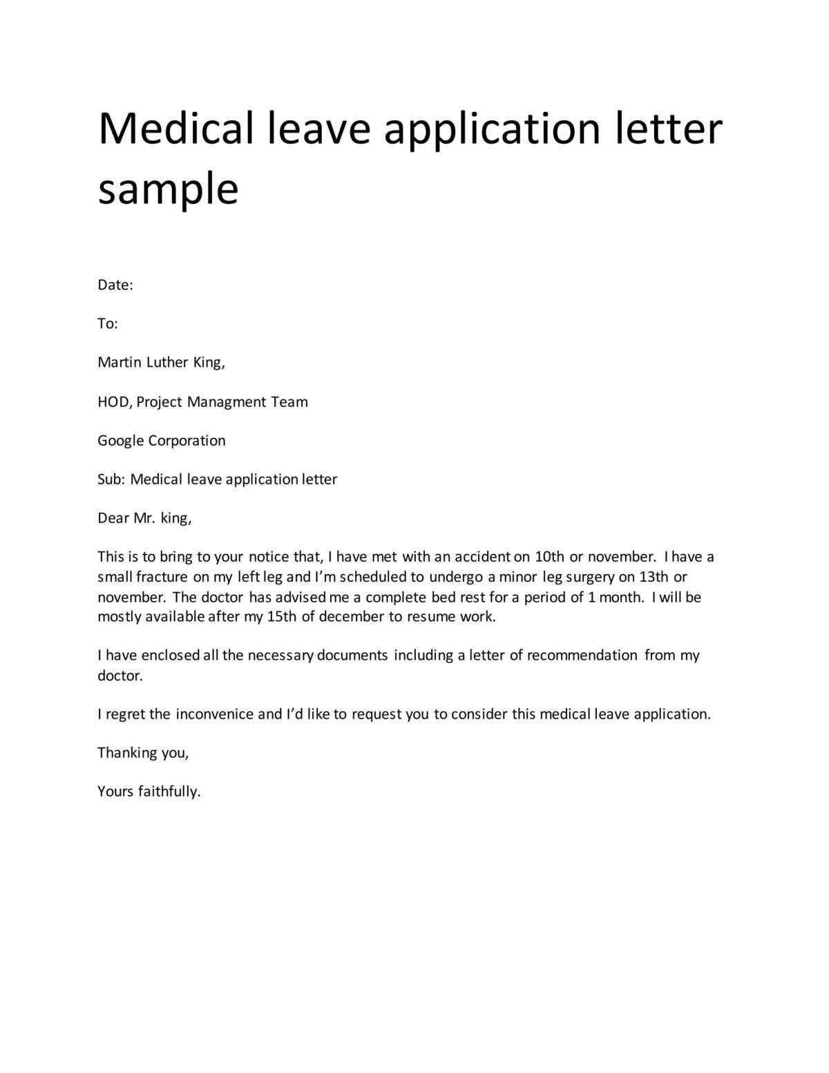 medical leave application letter sample