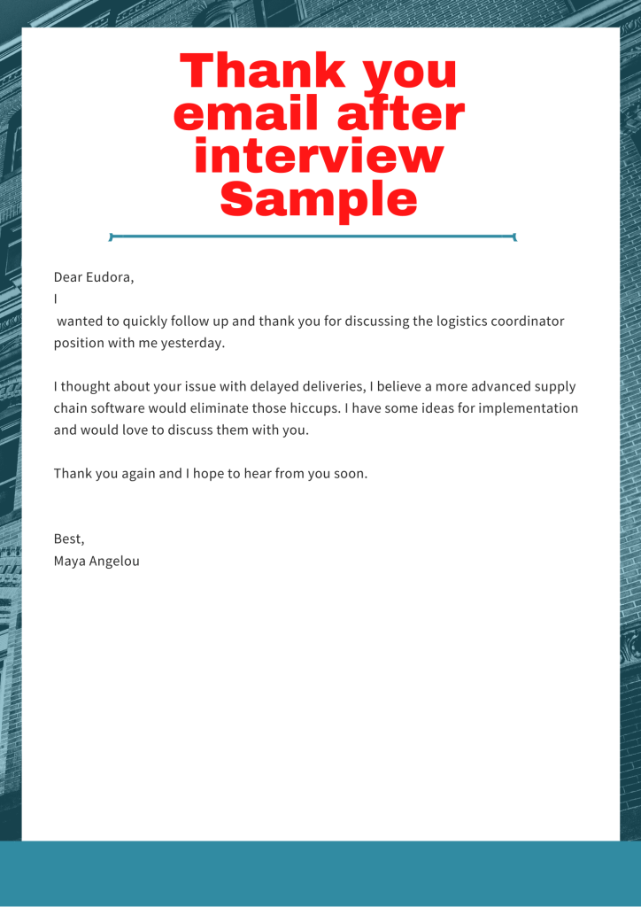 The image is an example of thank you email after interview