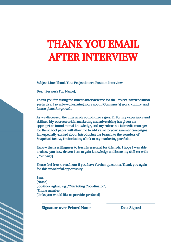 The image is an excellent example of of thank you email after interview.
