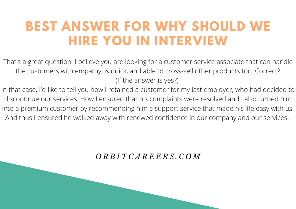 Best answer for Why should we hire you in interview
