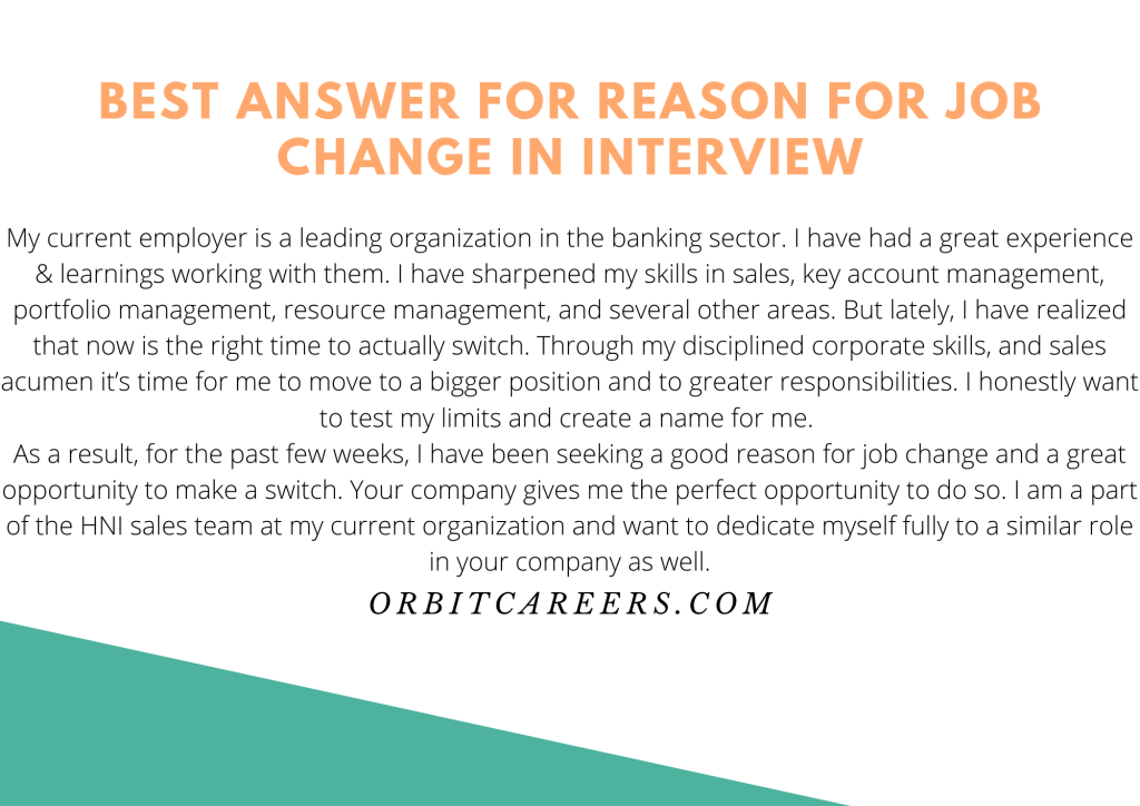 Best answer for reason for job change in interview