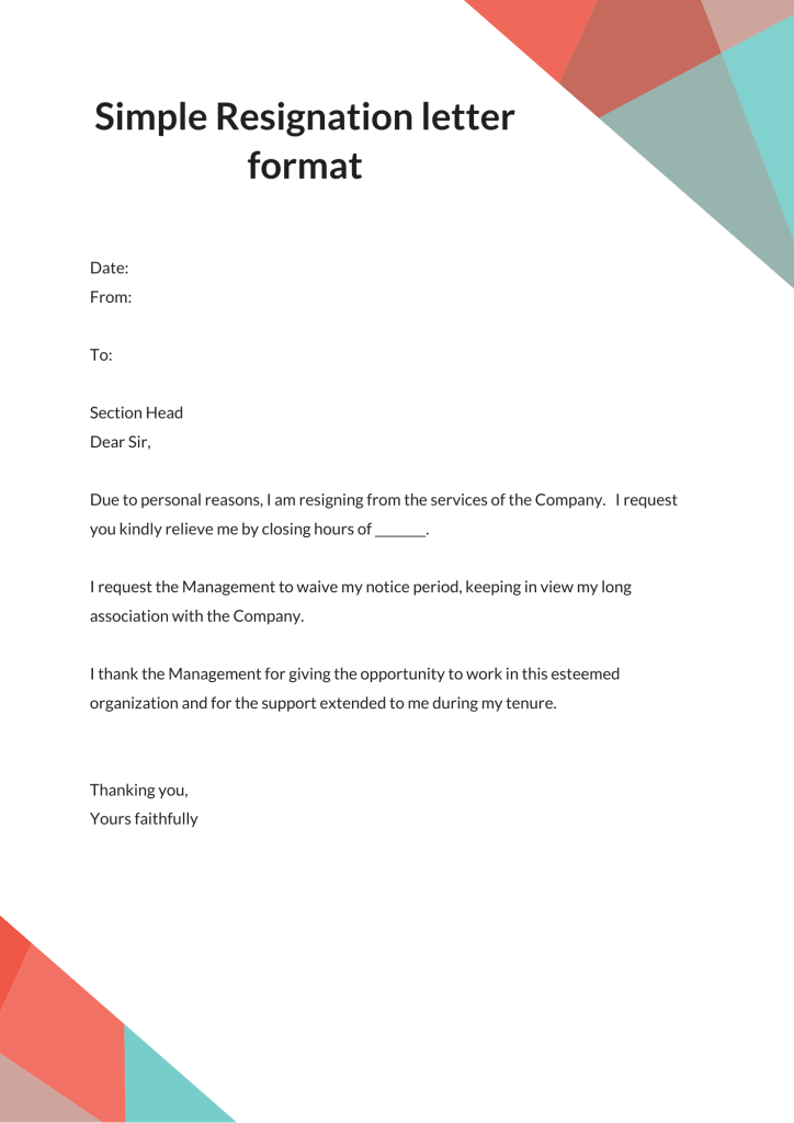 resignation letter sample without notice period