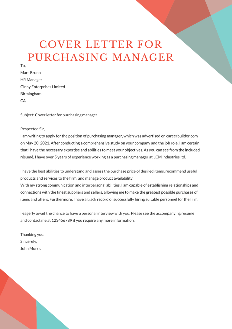 Cover letter for Purchasing Manager