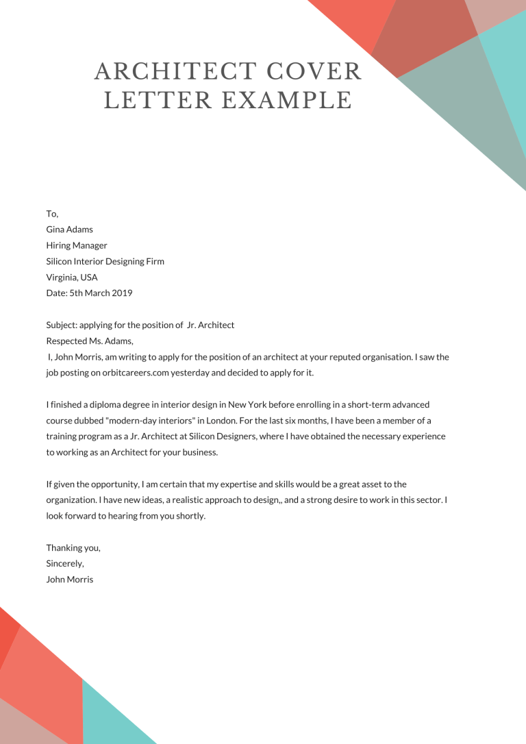 Architect Cover Letter Example