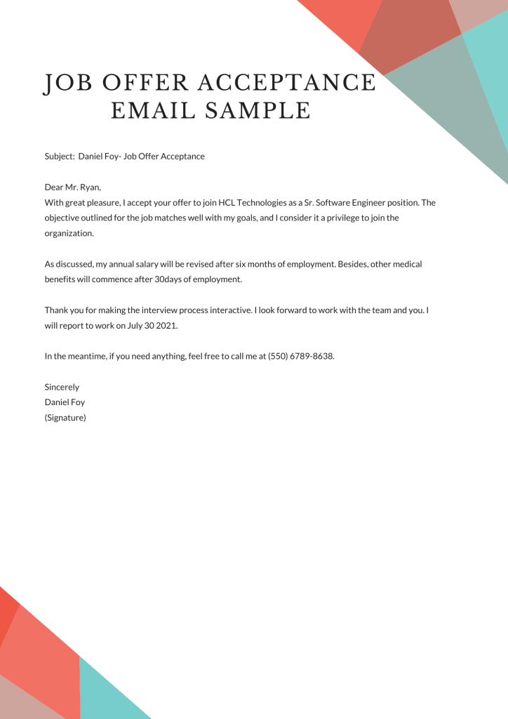 job offer acceptance email sample