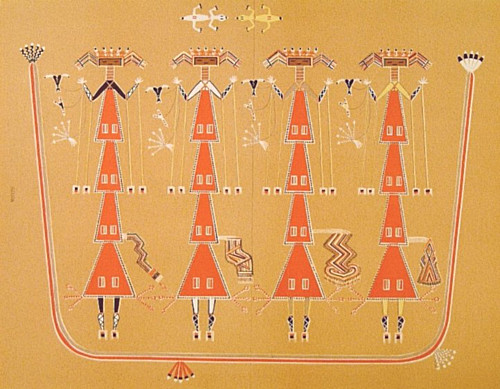 Navaho sand painting, modern origin from traditional design