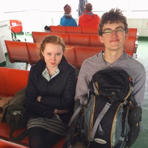 Claire Bishop Martin and Kahana Pietsch on a ferry in Japan last year / Photographer: Melanie Flint