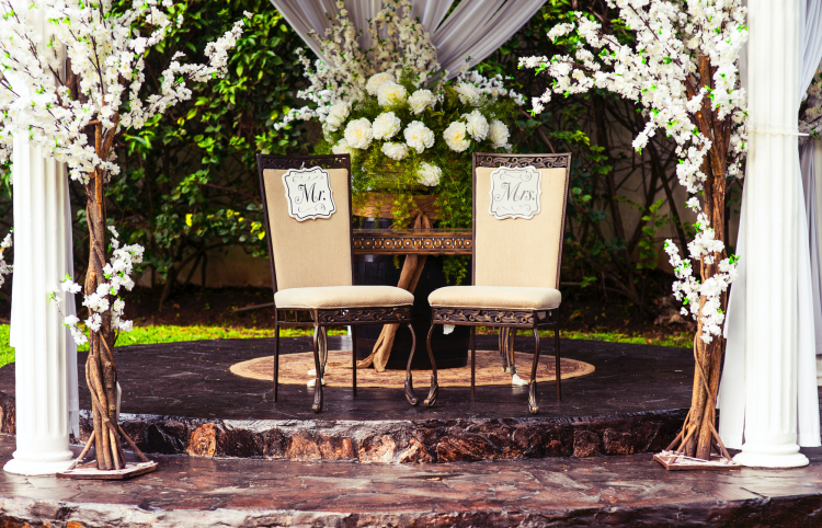 chairs mr and mrs wedding stationery