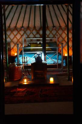 Cosy inside the yurt at nighttime