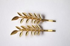 Gold olive branch hairpins