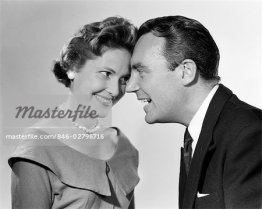846-02796716 © ClassicStock / Masterfile Model Release: Yes Property Release: No 1950s 1960s COUPLE MAN WOMAN SMILING POSED HEAD TO HEAD FOREHEADS TOUCHING LOVE TRUST FLIRT MAN SUIT TIE WOMAN SCOOP NECK DRESS PEARLS EARRINGS