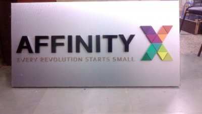 led acp signage, Affinity Express - 3D hollow acrylic + hard acrylic letters on ACP board