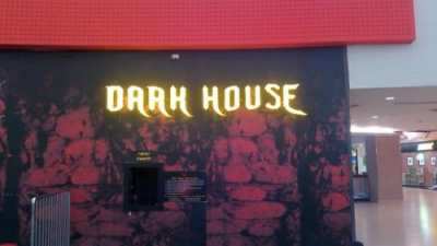 Dark House box letters with LEDs lit view