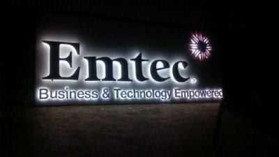 Emtech 3D acrylic and vinyl letters with logo in metal - back glow LEDs
