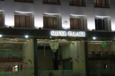 Silver Palace steel letters with all weather strip LEDs front viev