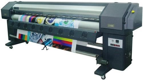 Challenger Limojet solvent flex printer in action