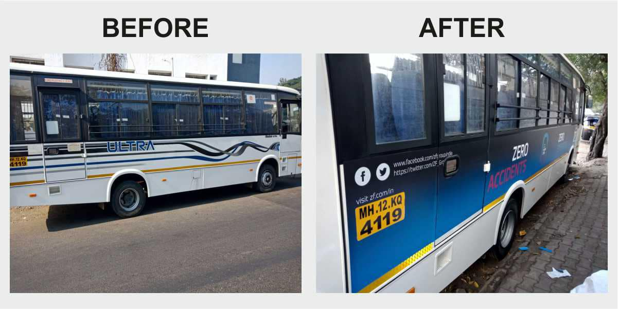 Custom ZF company logo printed and pasted on the side of the bus to highly personalise an ordinary looking vehicle