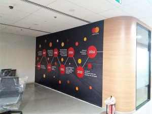 customized wallpaper installed in office area