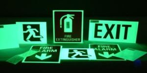 glow in the dark fire exit plates