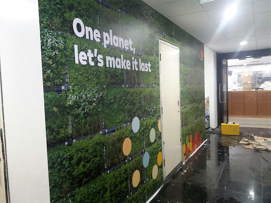 A custom printed wall mural is a great way to enhance your office decor