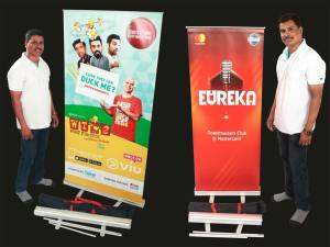 rollup standee for product display at exhibitions