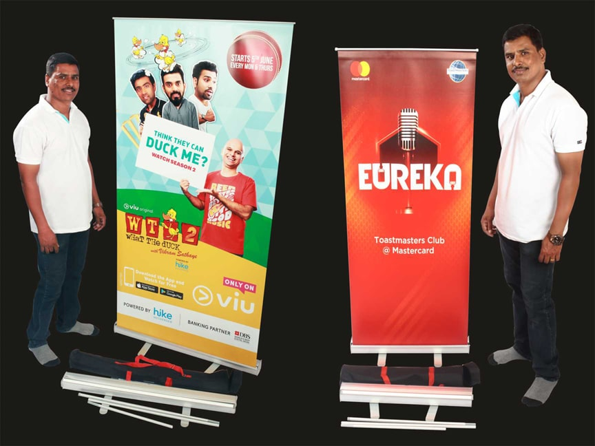rollup standees for product display at exhibitions