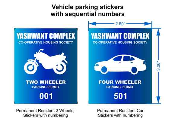 parking permit stickers for two wheelers and four wheelers with the name of the society and a serial number