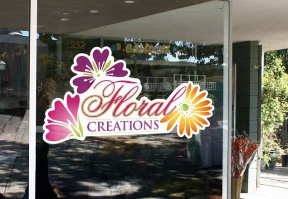 die cut stickers using an inkjet printer and plotter help create a beautiful logo decal for floral creations company