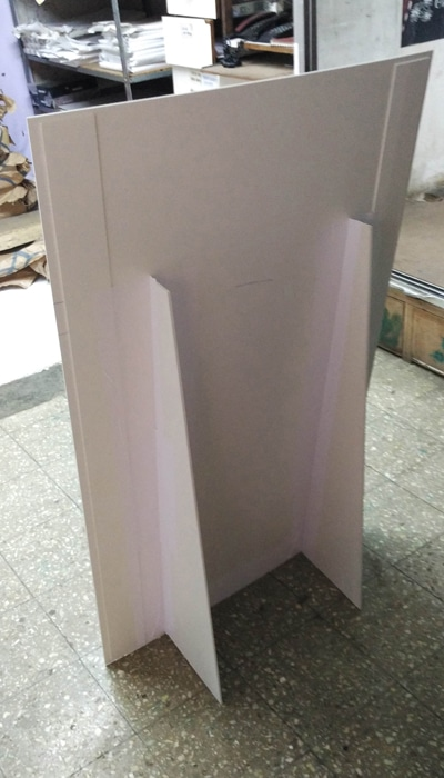 Back view of a single sunboard standee showing foldable flap stand support made of foam sheet