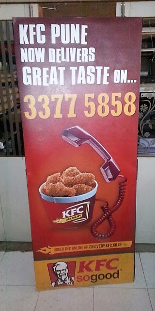 sunboard stand printing of KFC delivery ad