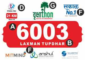 marathon bib contents like runner number, name, race category, sponsors' name, organizer logo, etc.