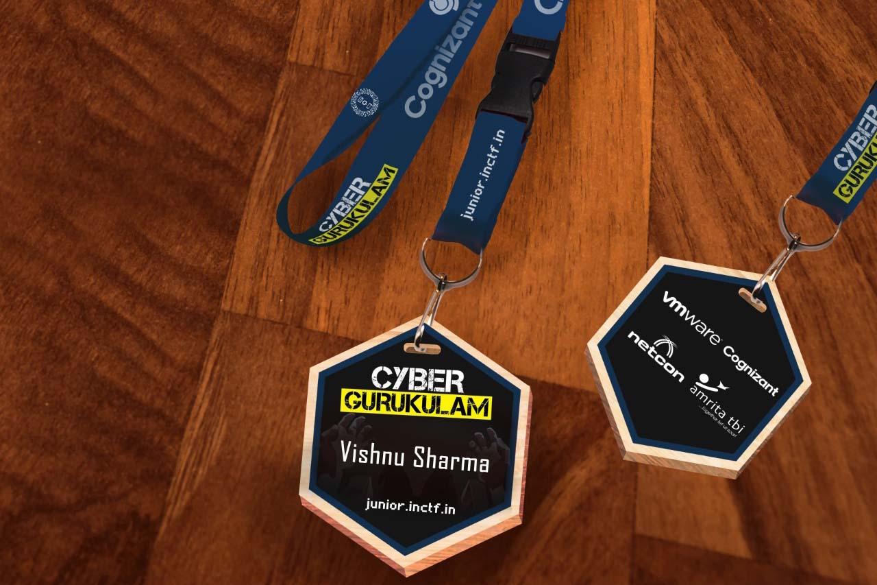 custom printed badges on a UV flatbed printer using laser cut mdf wood