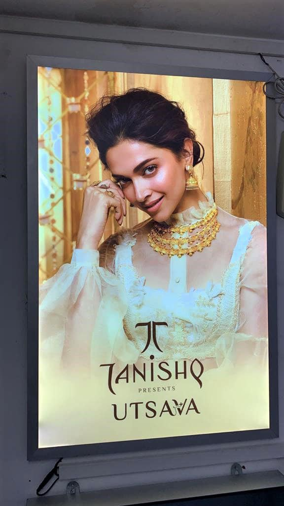 backlit print of deepika padukone modelling tanishq jewellery framed in a LED backlight panel