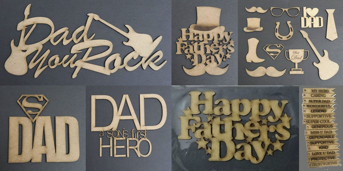 Laser cutting wooden MDF sheets to make a variety of highly artistic father's day stencils