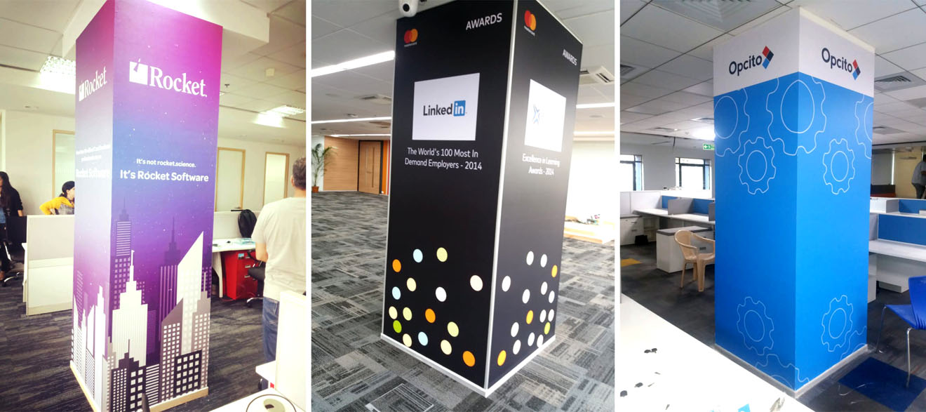 pillars in the office of the Rocket software company showcasing their product images using wall vinyl prints