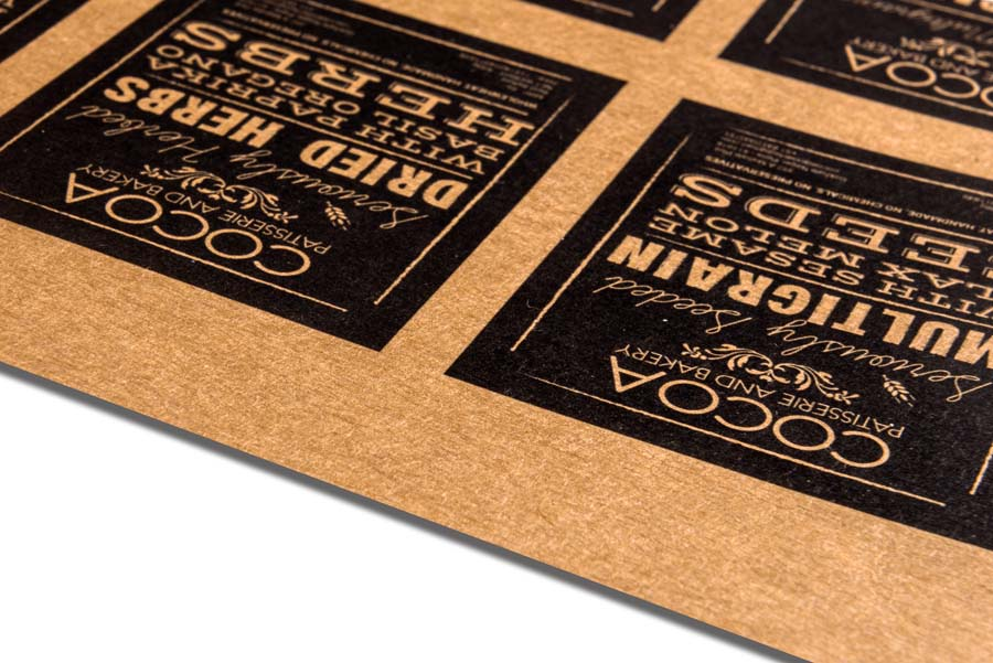 Digital color print on eco friendly brown colored kraft paper which has a natural unbleached look
