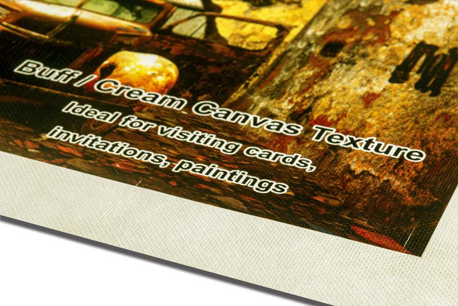 canvas textured paper with a slight creamish tint that adds a yellow hue to prints to make them look more rich