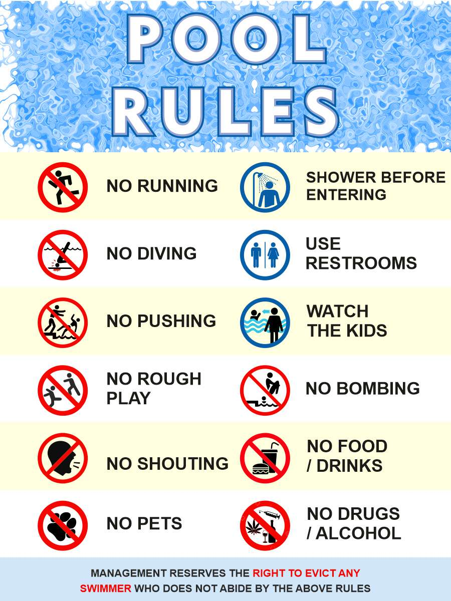 pool rules signboard artwork showing rules and regulation for swimming pools. free download of this design