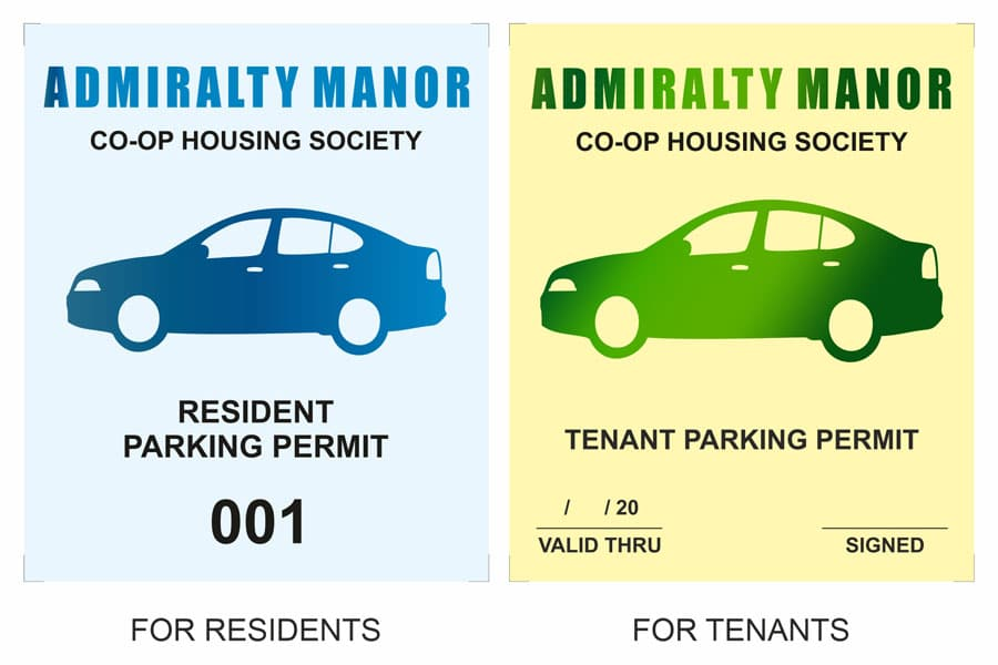 two variations of a car parking sticker design to differentiate between a permanent residents and tenants of the Admirality Manor housing society