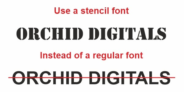 Image showing the words Orchid Digitals in a stencil font with bridges which will work better than regular fonts for creating custom stencils for logos