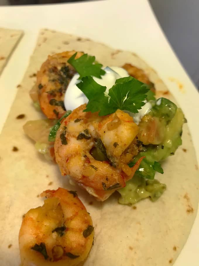Shrimp Tacos + Avocado Salsa + Sour Cream Cilantro Sauce