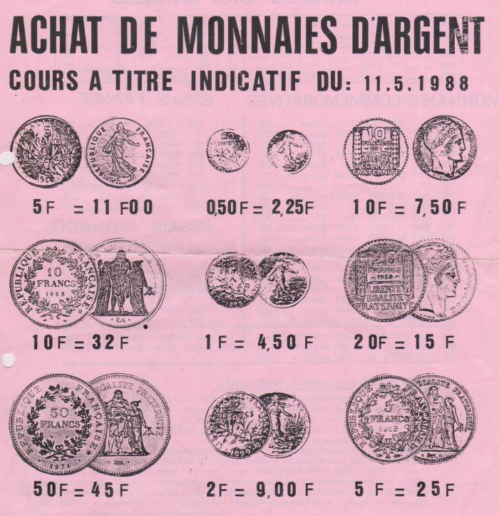 Tarif monnaie argent en 1988- or et compagnie