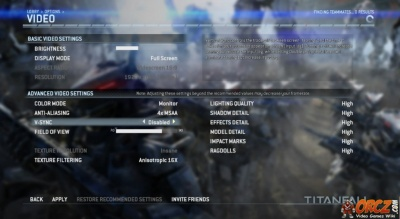 Titanfall PC Video Settings The Video Games Wiki